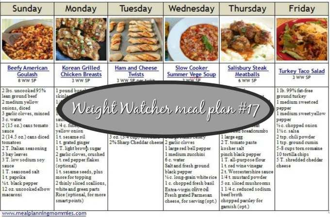 snip of Meal Plan #17