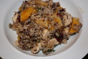 Wild rice and chicken with oranges and cranberries