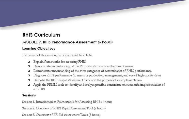 Module 9 RHIS Performance Assessment \u2014 MEASURE Evaluation