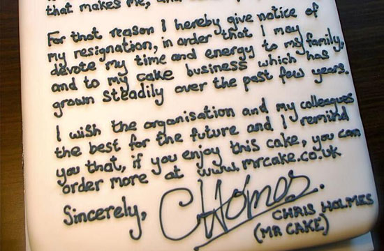 Cake Resignation Letter - resignation letter cake