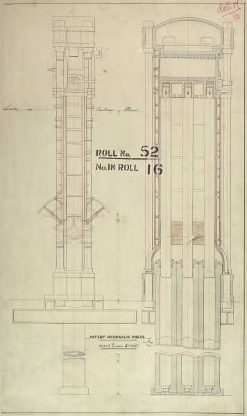 Patent hydraulic press, vertical sections Date 1862 - Photo Prints
