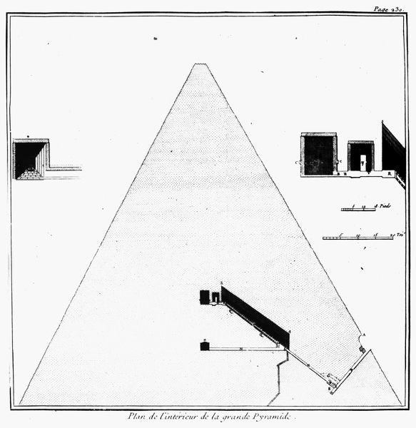 Diagram of the interior of the great pyramid of Kheops at Giza from
