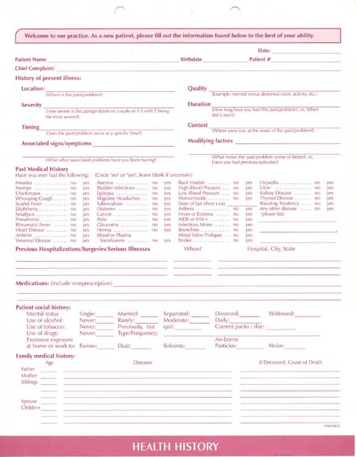 Clinical Data Forms-Complete Medical System, Clinical Data Forms - sample medical history form