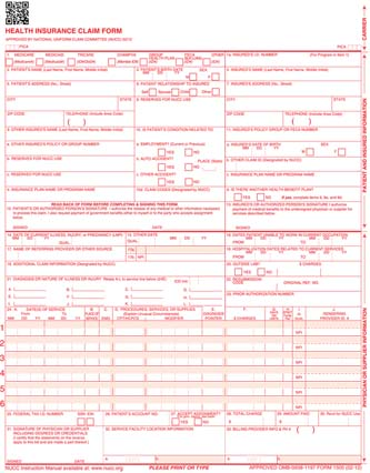 Insurance Claim Forms CMS1500 - Continuous, CMS1500 Insurance - medical form in pdf