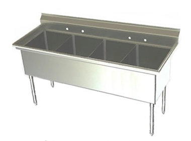 21in Wide Bowl Four Compartment Stainless Steel Sink