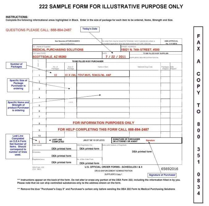 MPS Example DEA 222 Form - sample form