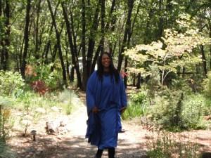 A joyful soul strolling through the gardens