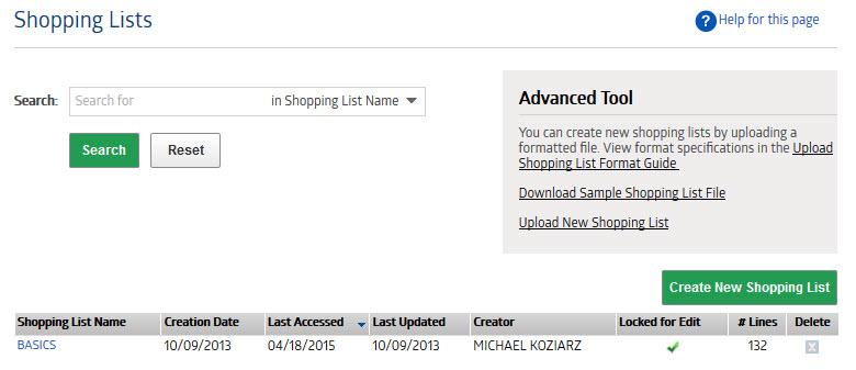 Shopping Lists - Medline - sample shopping list