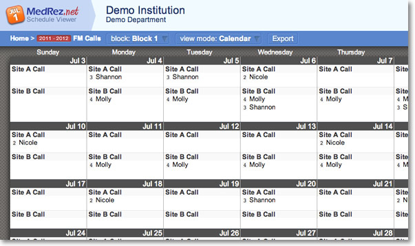 Medical Resident Call / Shift Scheduling Software by H2-O2