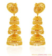 22K Gold Jhumka Earrings - ErFc16102 - 22KT Gold earrings ...