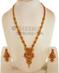 22k Gold Long Necklace Earring Set - StGo22228 - 22k Gold ...