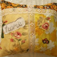 yellow collage cushion cover