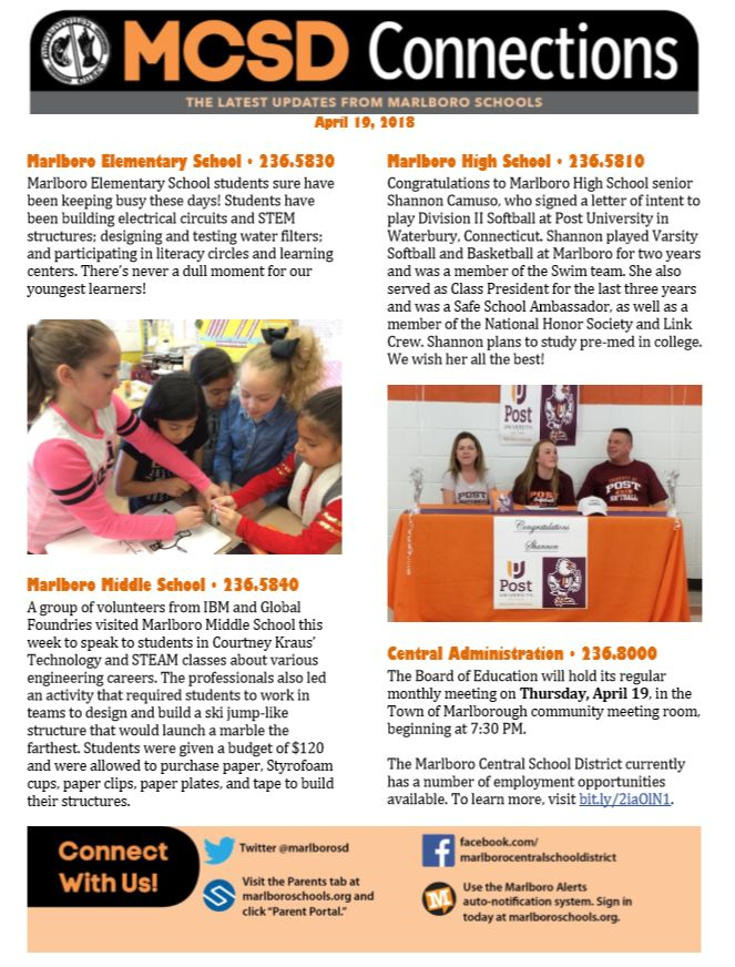 School Newsletter Meet Me In Marlborough