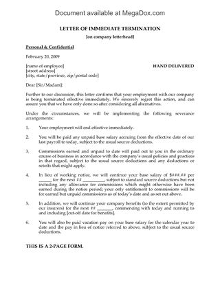Employee Termination Letter Due to Lengthy Illness Legal Forms - employee termination form