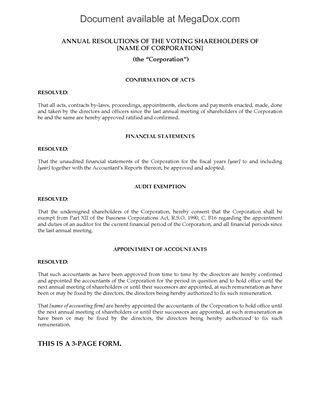Canada Annual Corporate Resolutions Legal Forms and Business - corporate resolution form