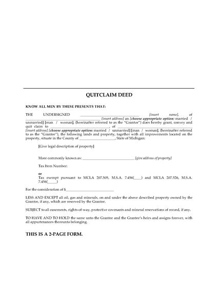 Quick Deed Form. 2 Quitclaim (Sample Form) Quitclaim Deed Form ...