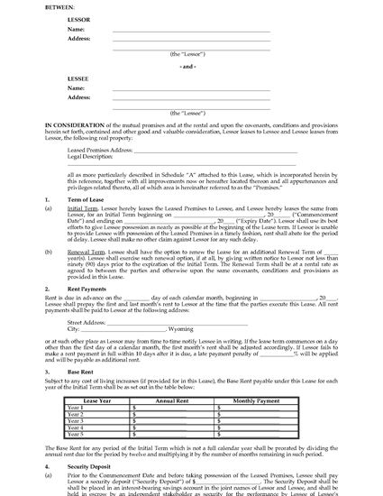 Wyoming Commercial Triple Net Lease Agreement Legal Forms and