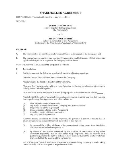 Shareholder Agreement Template - shareholder agreement