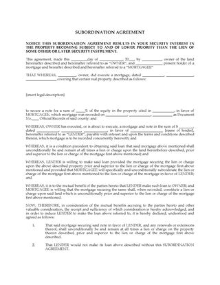 Mortgage Forms Legal Forms And Business Templates - subordination agreement template