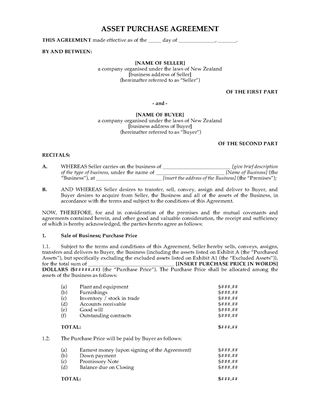 New Zealand Equipment Hire Purchase Agreement Form Legal Forms - asset purchase agreement