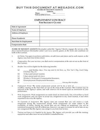 Security Services Contract Template cleaning contracts quotes image - security agreement template