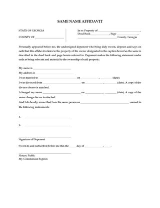 Indiana One and the Same Person Affidavit Legal Forms and Business - name affidavit form
