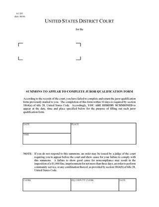 form ao 440 - Cypruhamsaa - Civil Summons Form
