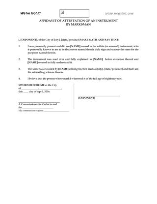 Canada Affidavit of Execution form Legal Forms and Business