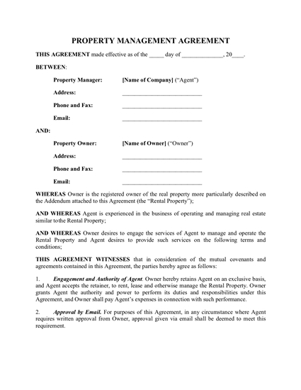 Ontario Rental Property Management Agreement Legal Forms and