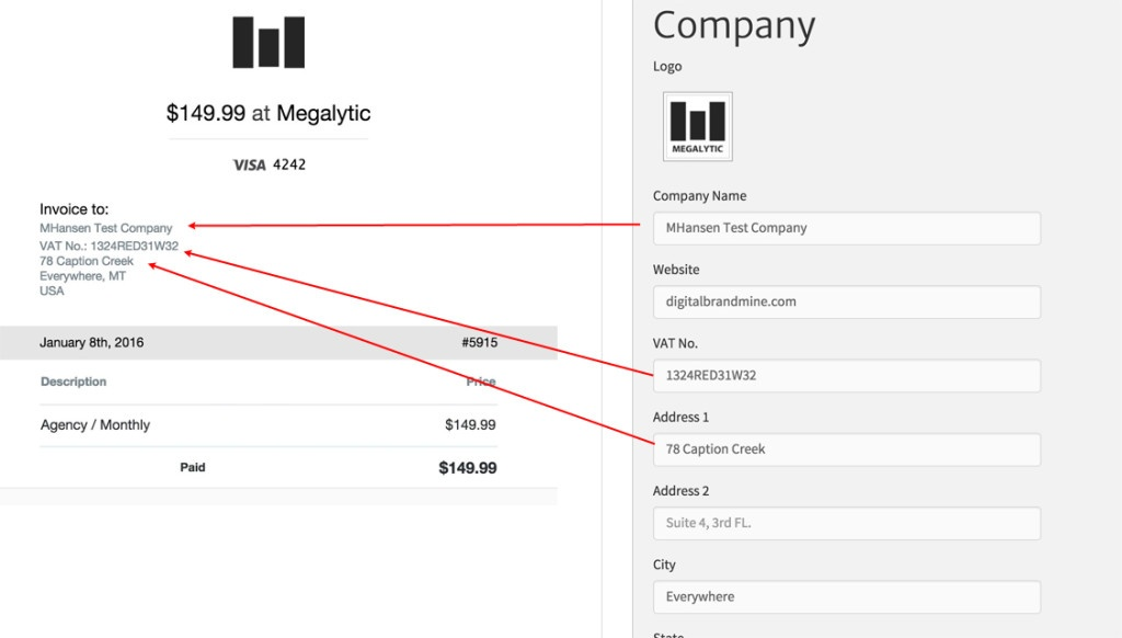 Customizing your Megalytic invoices to include your company address