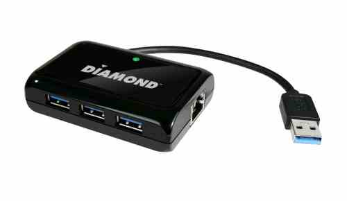 Diamond Multimedia USB303HE Combines USB 3.0 Hub with Gigabit Ethernet   USB303H Productshot 500x290