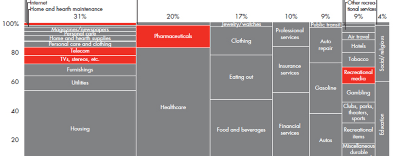 Marimekko chart showing where US consumers spent their money in 2009
