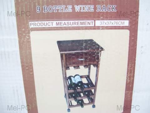 Phantom Timber Wood 9 Bottle Wine Rack Bench On Wheels