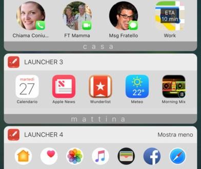Launcher e widget iOS 10, torna il lancio delle app e le scorciatoie