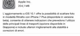 Apple rilascia iOS 10.1 ecco changelog e link download
