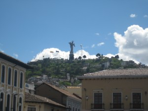 The Madonna sits upon El Panecillo, watching over the city of Quito.