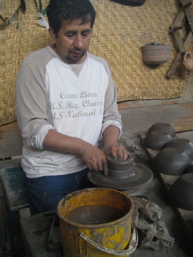 Conversations with the incredible owners of the pottery shop behind our apartment.  This is the son of the founder. His father has been making pottery for 71 years!