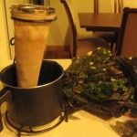 Our coffee pot and fresh plant for our regular manzanilla tea.