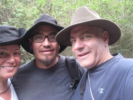 "Missy, Danilo and Tony take a ""selfie"" after a 5 hour hike near Quito, Ecuador, 2013."