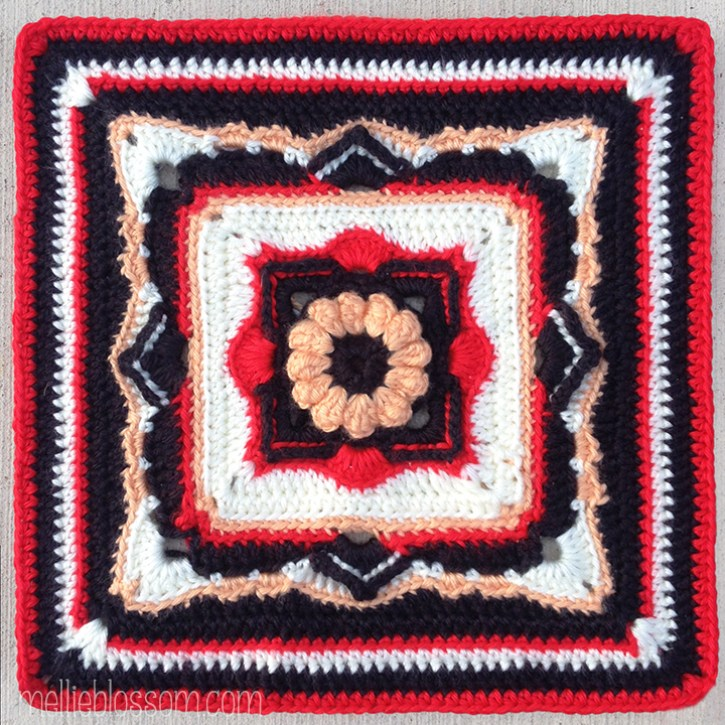 Lotus Pavilions Crochet Square - mellieblossom.com