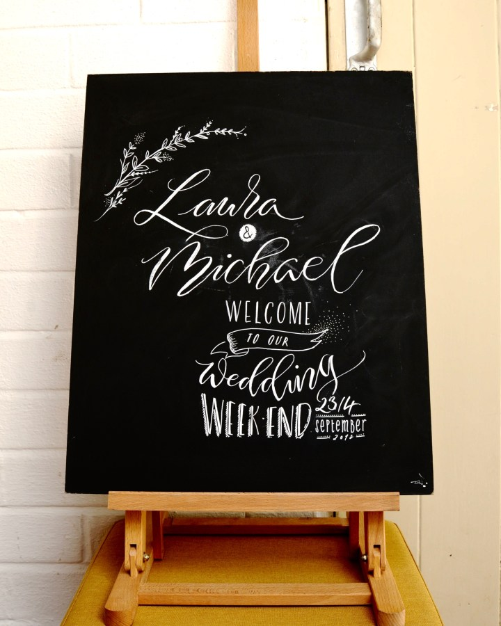 Hand lettered & Personalised Wedding Chalkboard by Mellor and Rose