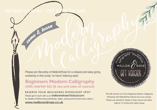 Mellor and Rose Modern Calligraphy and Brush Lettering workshops - Gift Vouchers