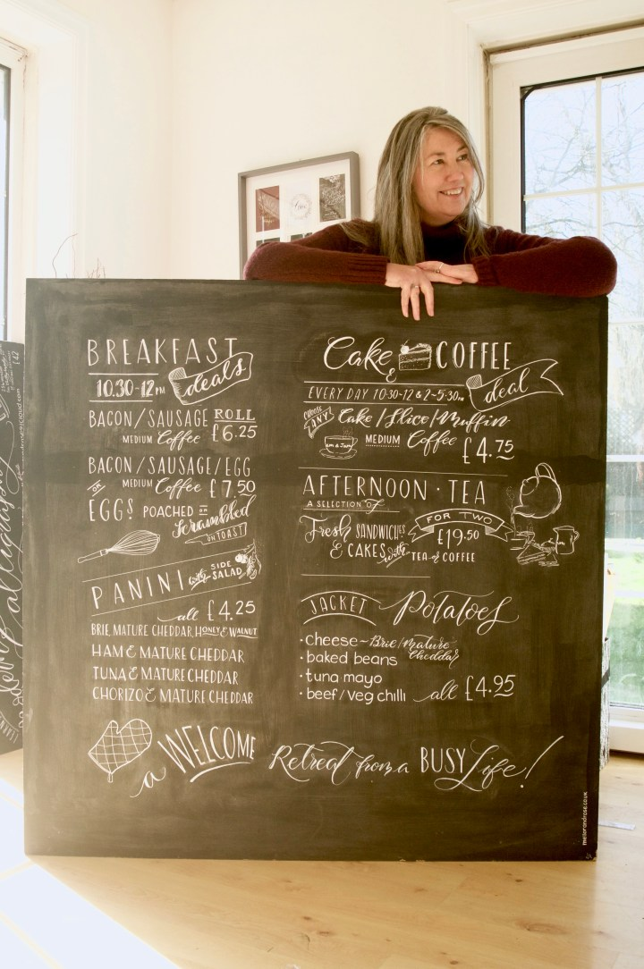 Hand lettered Chalkboard/ Blackboard by Mellor and Rose in Lancashire