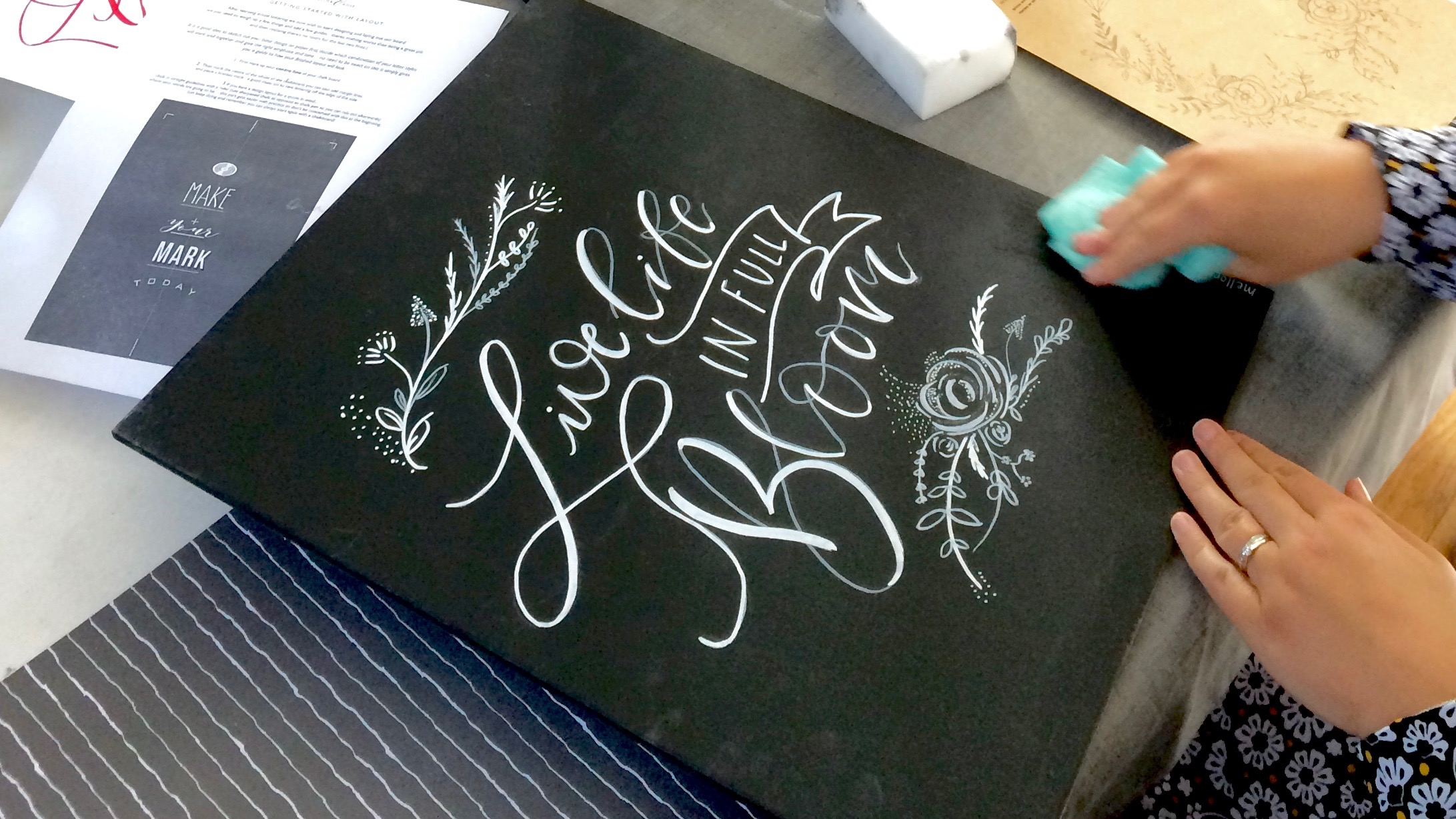 Chalk Lettering workshop with Mellor & Rose Lancashire