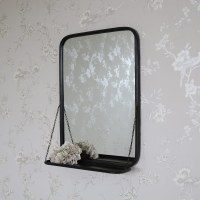 Black Metal Industrial Vanity Wall Mirror with Shelf ...