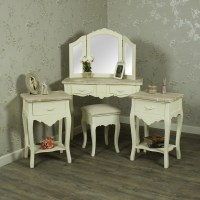 Cream Wood Dressing Table, Mirror, Stool Set with 2 ...