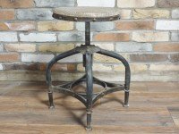 Rustic Metal Bar Stool with Adjustable Wooden Seat ...