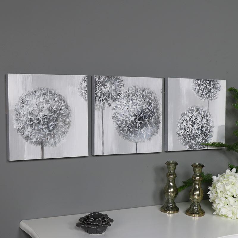 Triptych Wall Art Grey Flower Canvas Print