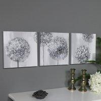 Triptych Wall Art Grey Flower Canvas Print - Melody Maison