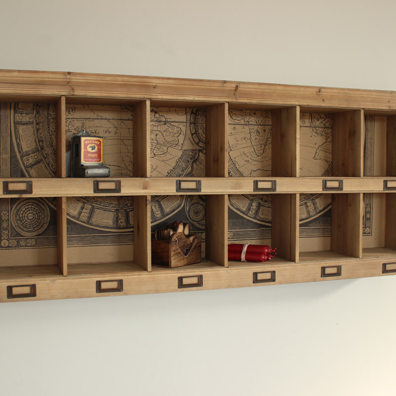 Wooden Wall Storage Unit 12 Section Shelving Unit Pigeon